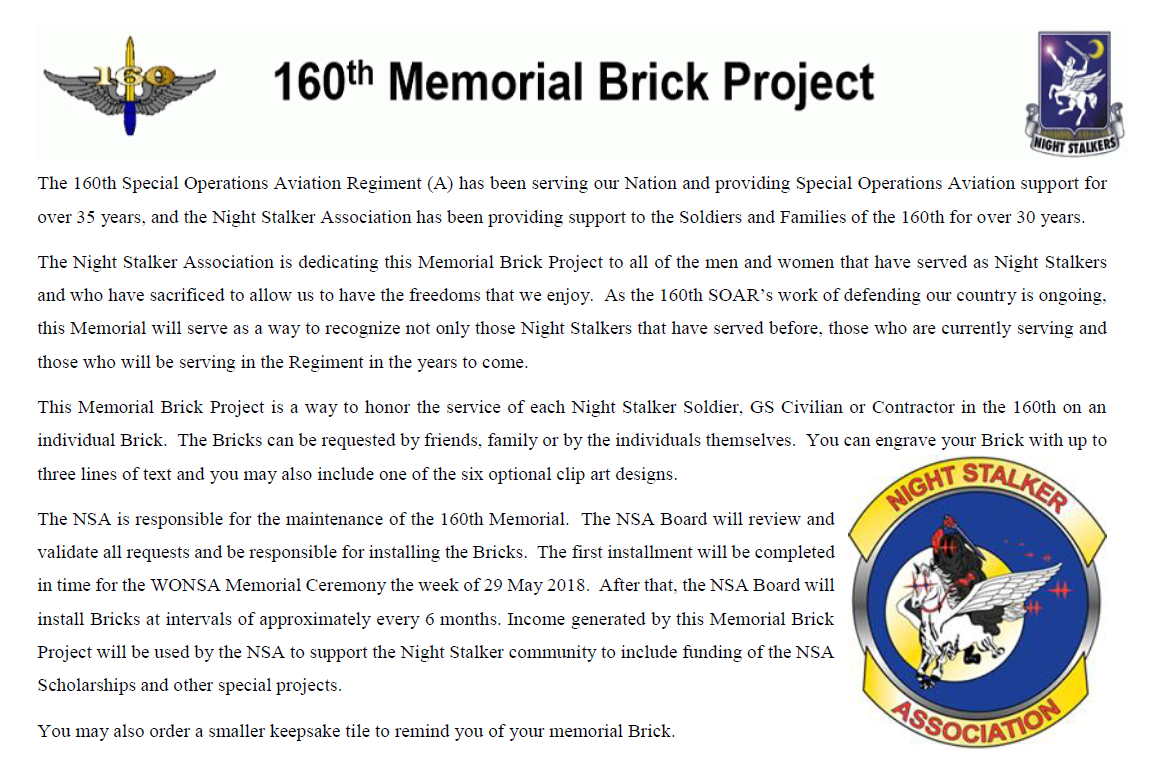 Memorial brick project